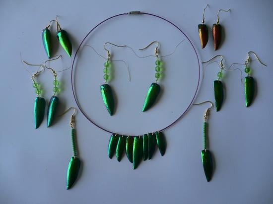 Elytres de Thaïlande et perles de verre
