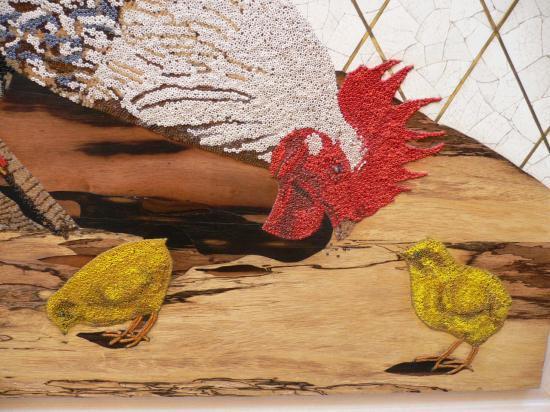 Le coq et les poussins, détail