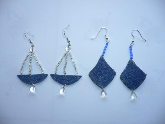 Galuchat et perles de verre
